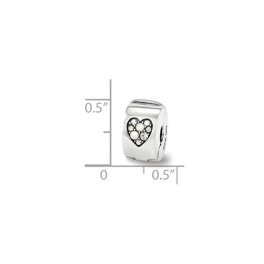Alternate view of the Hinged Heart Clip Bead Charm in Silver with Swarovski Crystals by The Black Bow Jewelry Co.