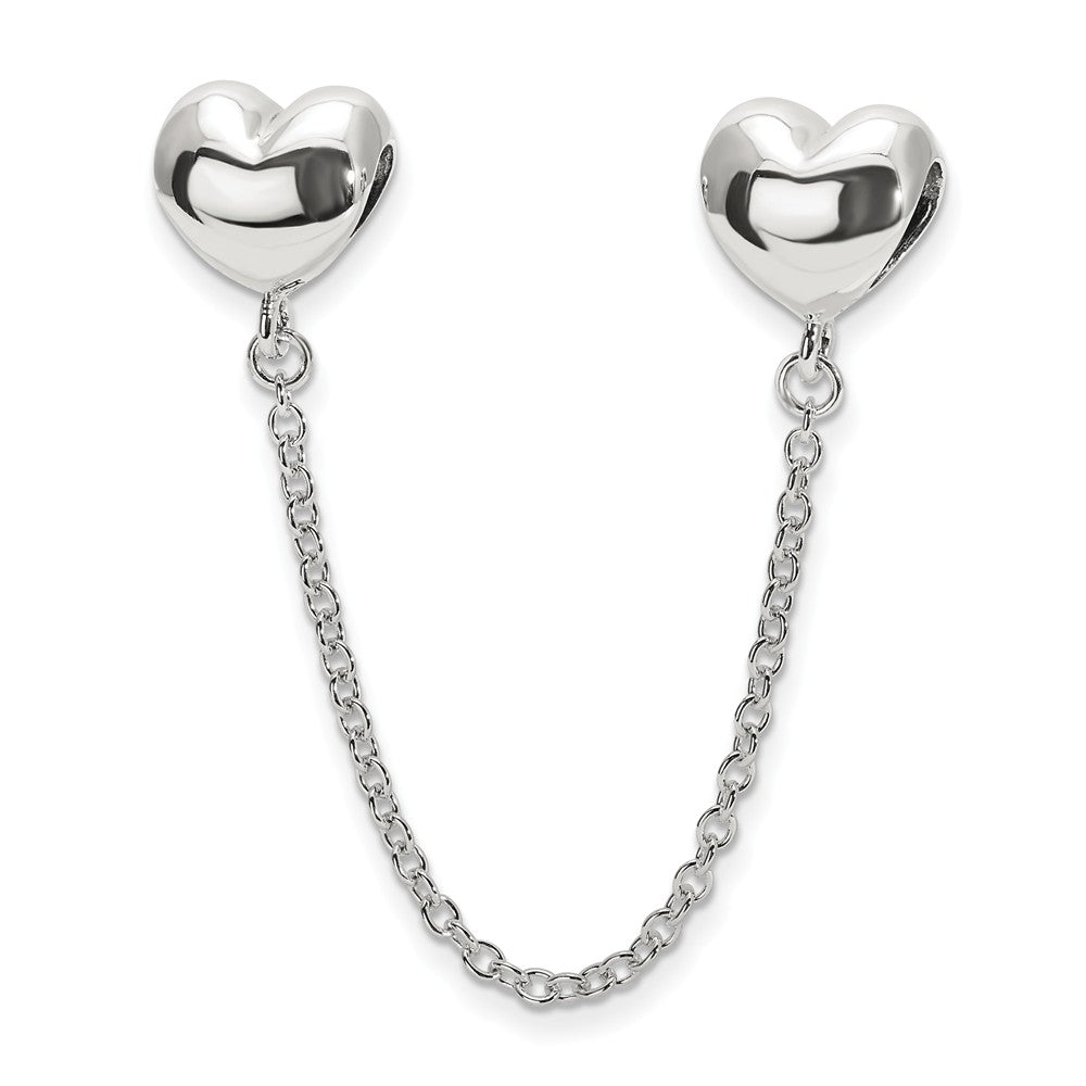 Sterling Silver Security Chain with Polished Heart Bead Charm, Item B11968 by The Black Bow Jewelry Co.