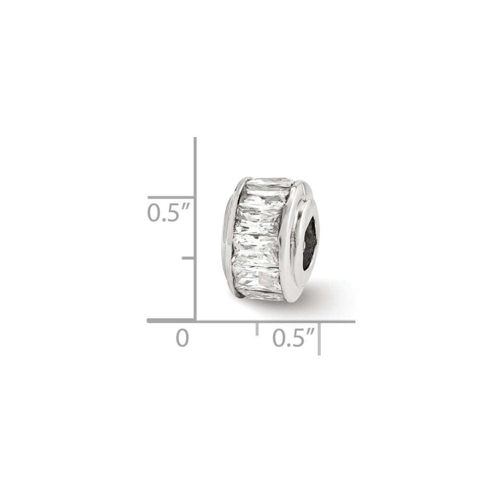 Alternate view of the Sterling Silver and Baguette Clear Cubic Zirconia Bead Charm, 12mm by The Black Bow Jewelry Co.
