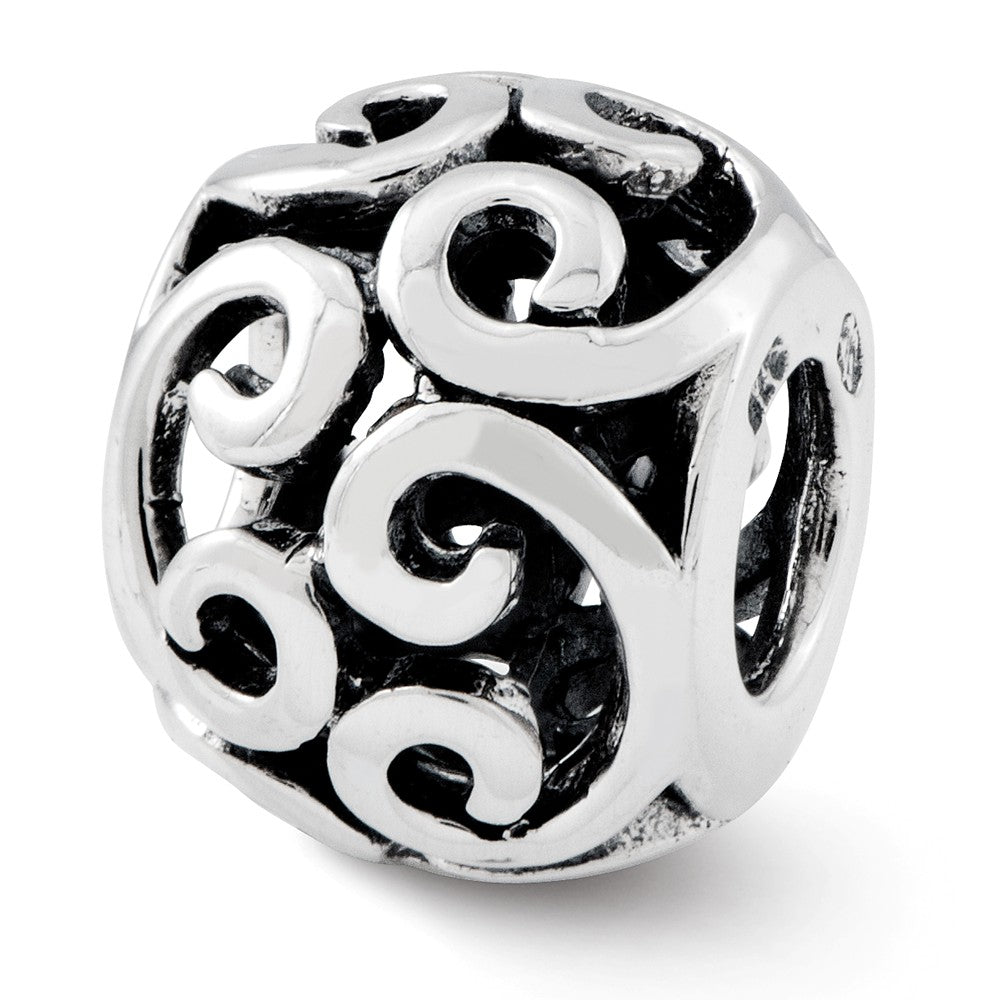 Sterling Silver Antiqued Scroll Bali Bead Charm, Item B12022 by The Black Bow Jewelry Co.