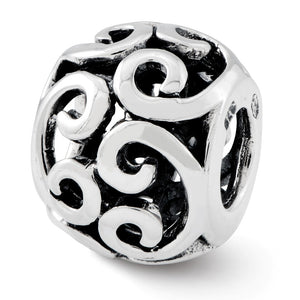 Sterling Silver Antiqued Scroll Bali Bead Charm - The Black Bow Jewelry Co.