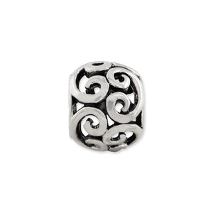 Alternate view of the Sterling Silver Antiqued Scroll Bali Bead Charm by The Black Bow Jewelry Co.
