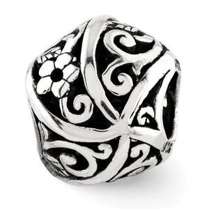 Sterling Silver Vining Flower Bali Bead Charm - The Black Bow Jewelry Co.