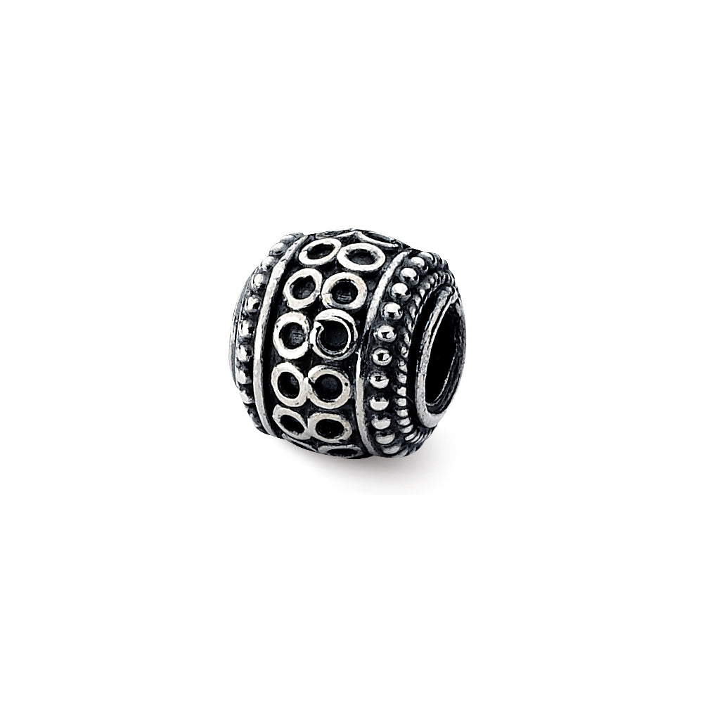 Sterling Silver Antiqued Artisan Circle Rope Design Bead Charm, Item B12057 by The Black Bow Jewelry Co.