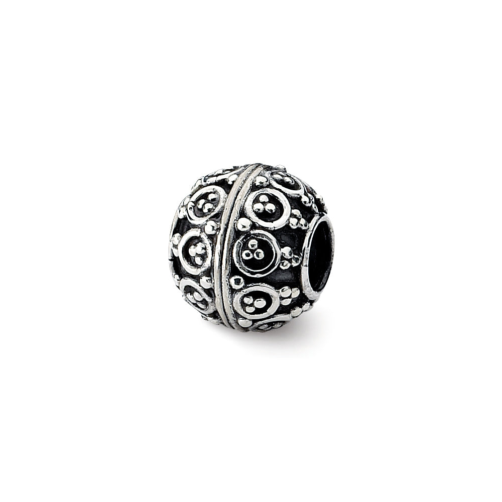 Sterling Silver Antiqued Artisan Round Bead Charm, Item B12060 by The Black Bow Jewelry Co.