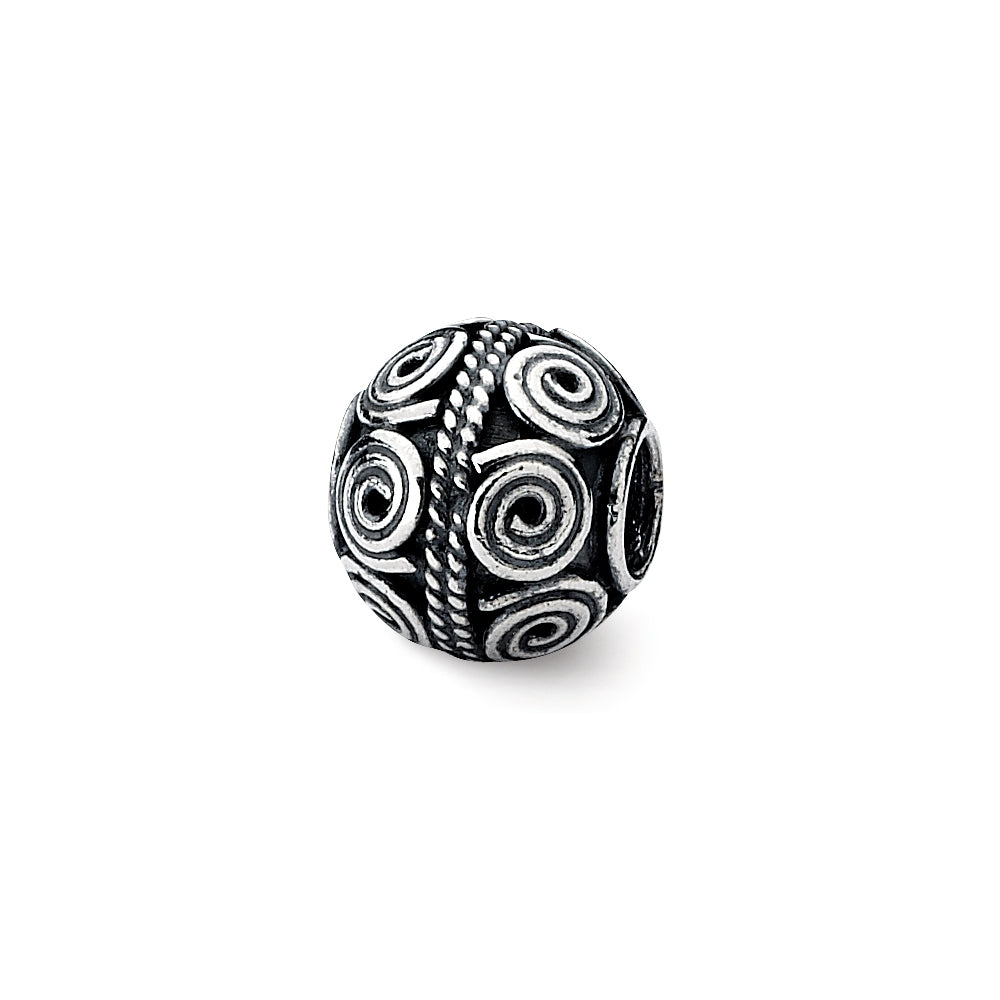 Sterling Silver Antiqued Artisan Coiled Design Bead Charm, Item B12062 by The Black Bow Jewelry Co.