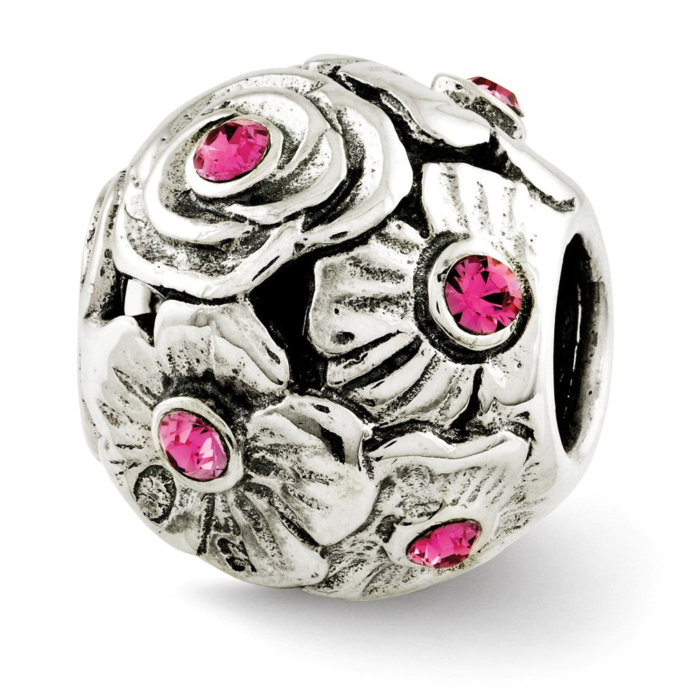 Sterling Silver with Pink Swarovski Crystals Flower Bead Charm, Item B12069 by The Black Bow Jewelry Co.