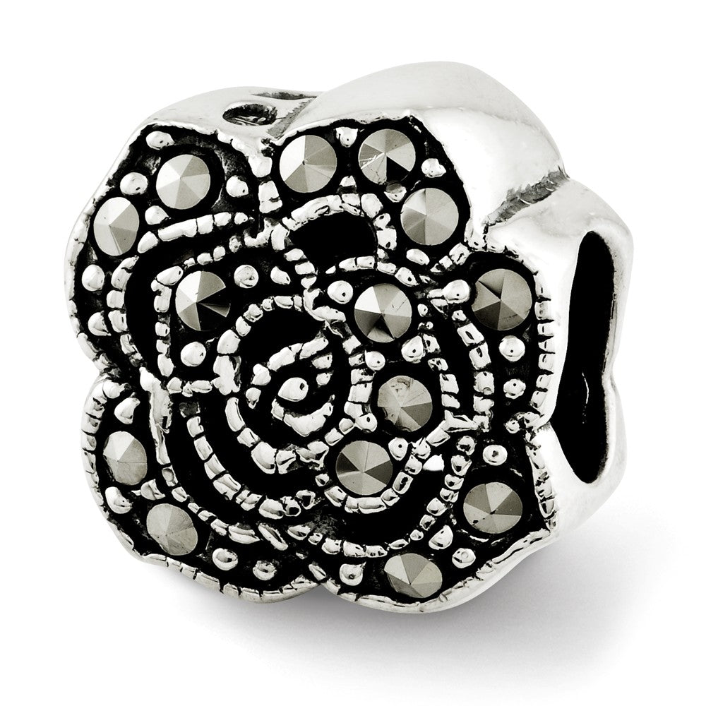 Sterling Silver & Marcasite Antiqued Flower Bead Charm, Item B12077 by The Black Bow Jewelry Co.