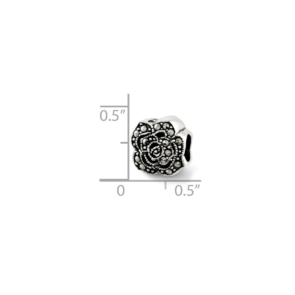 Alternate view of the Sterling Silver & Marcasite Antiqued Flower Bead Charm by The Black Bow Jewelry Co.