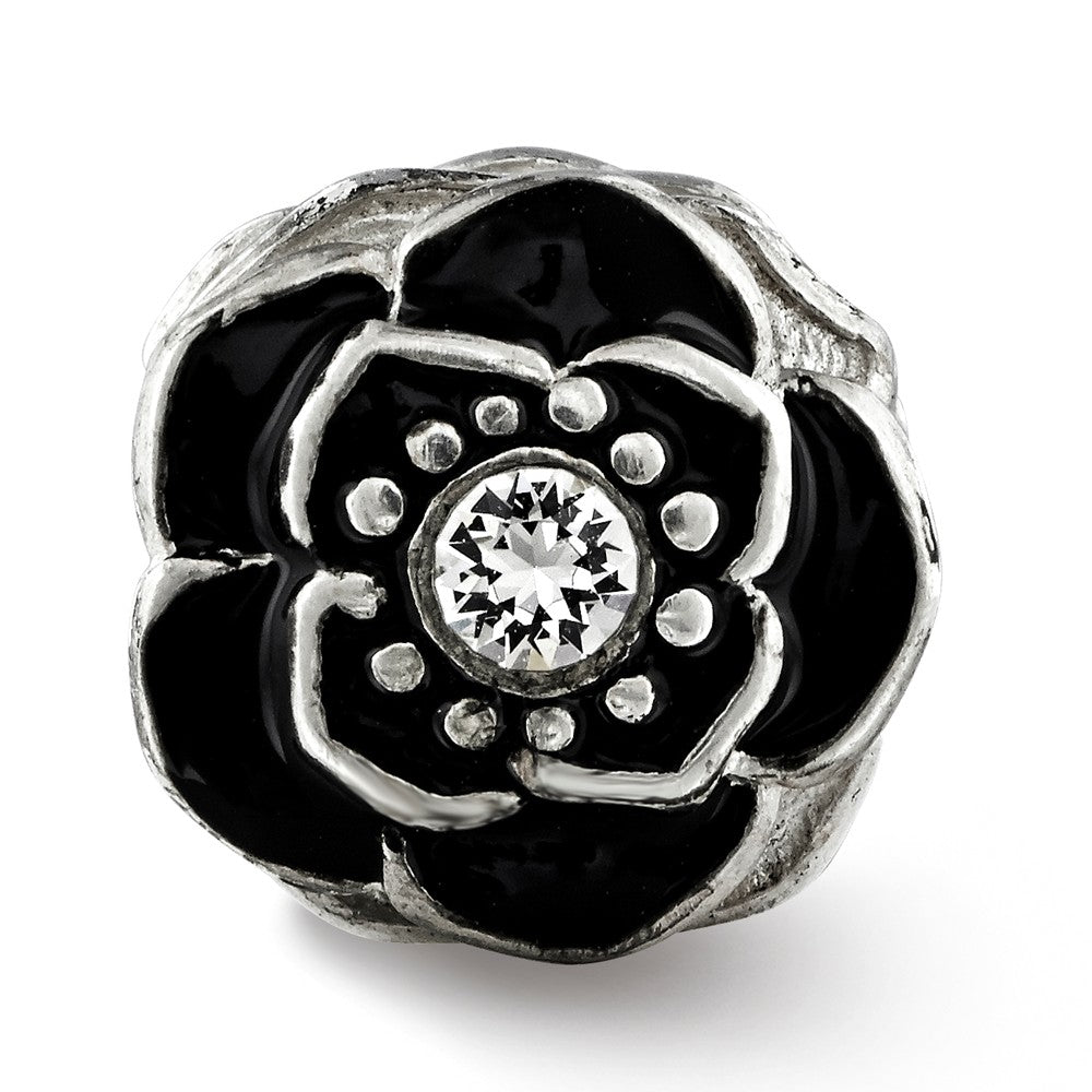 Alternate view of the Sterling Silver, Black Enamel & Crystal Antiqued Flower Bead Charm by The Black Bow Jewelry Co.