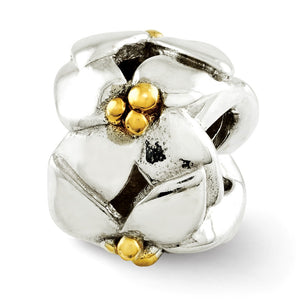 Sterling Silver & 14k Gold Plated Two Tone Flowers Bead Charm - The Black Bow Jewelry Co.