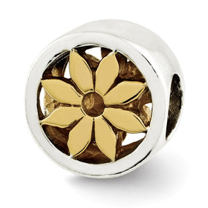 Sterling Silver and 14k Gold Plated Flower Cylinder Bead Charm, 10mm - The Black Bow Jewelry Co.