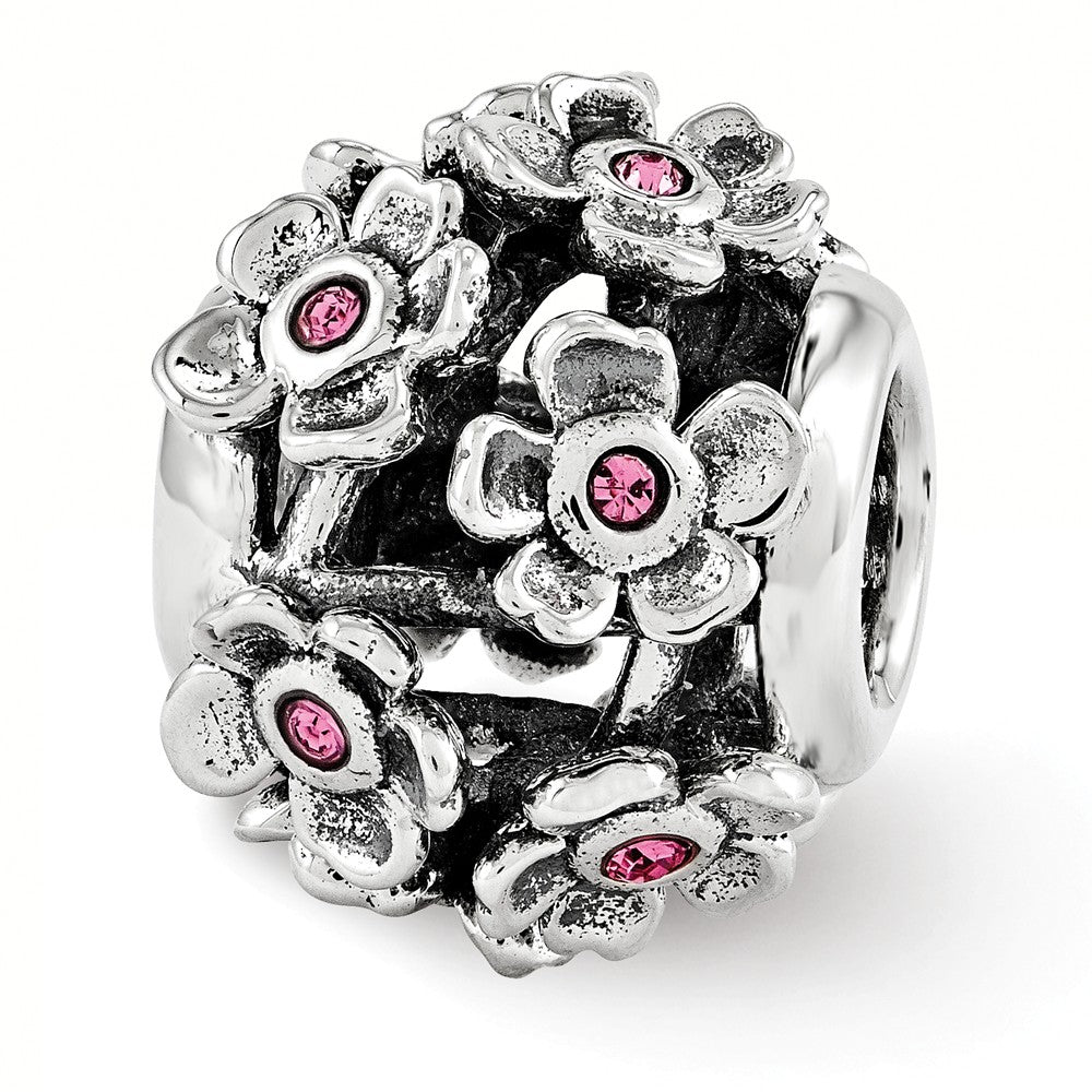 Sterling Silver with Swarovski Crystals Pink Blossoms Bead Charm, Item B12094 by The Black Bow Jewelry Co.