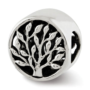 Sterling Silver Double Sided Cylinder Tree Bead Charm, 10mm