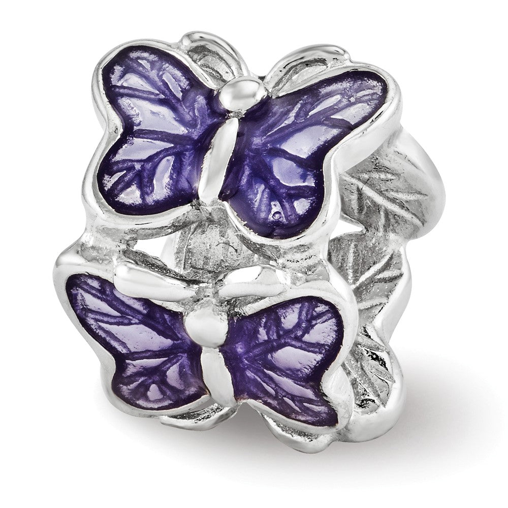 Sterling Silver and Purple Enameled Butterflies Bead Charm, Item B12097 by The Black Bow Jewelry Co.