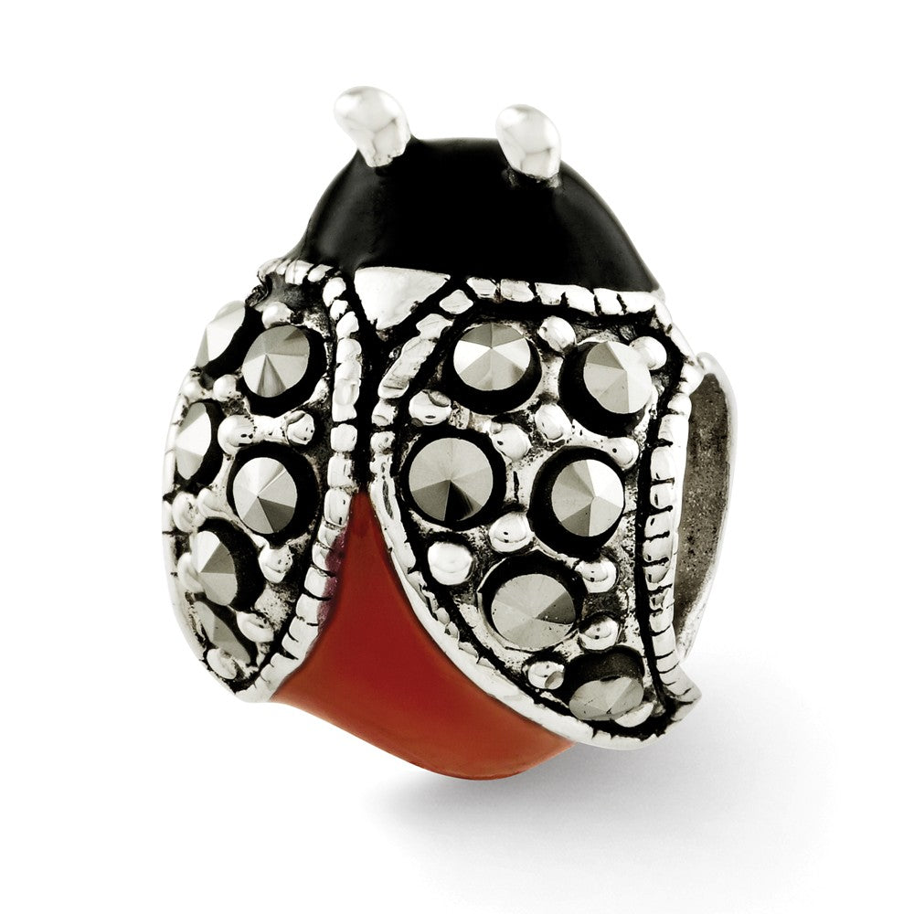Sterling Silver, Enamel and Marcasite Ladybug Bead Charm, Item B12099 by The Black Bow Jewelry Co.
