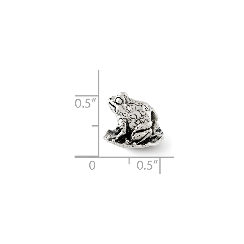 Alternate view of the Sterling Silver Antiqued Frog on Lily Pad Bead Charm by The Black Bow Jewelry Co.