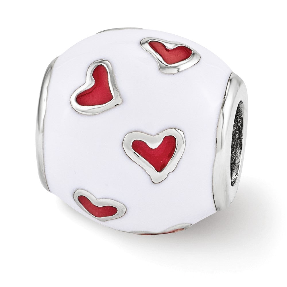 Sterling Silver, White & Red Enamel Heart Barrel Bead Charm, Item B12114 by The Black Bow Jewelry Co.