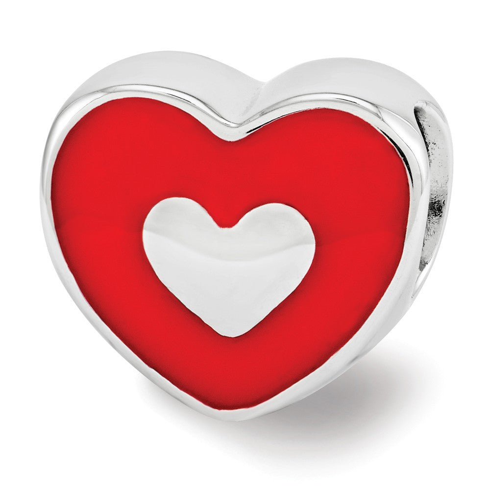 Sterling Silver & Red Enamel Double Sided LOVE & Heart Bead Charm, Item B12116 by The Black Bow Jewelry Co.
