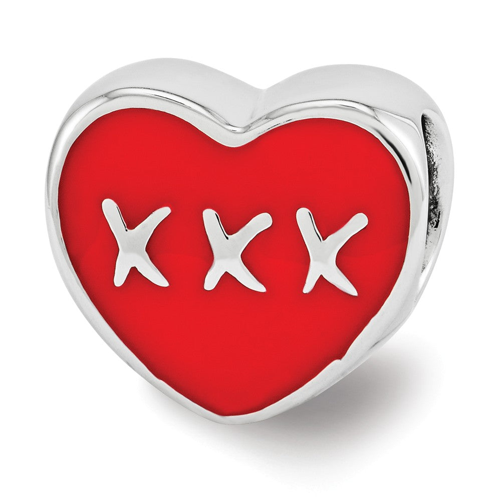 Sterling Silver & Red Enamel Double Sided KISS & XXX Heart Bead Charm, Item B12117 by The Black Bow Jewelry Co.