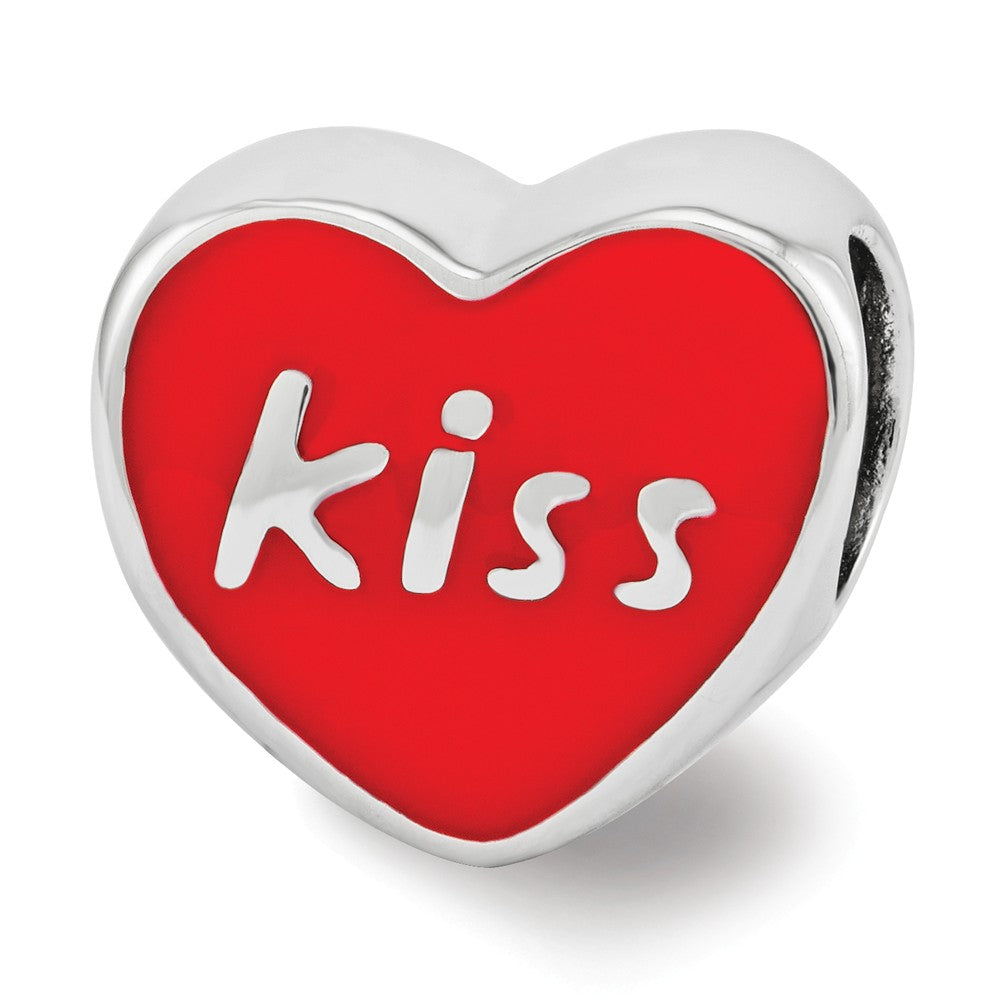 Alternate view of the Sterling Silver & Red Enamel Double Sided KISS & XXX Heart Bead Charm by The Black Bow Jewelry Co.