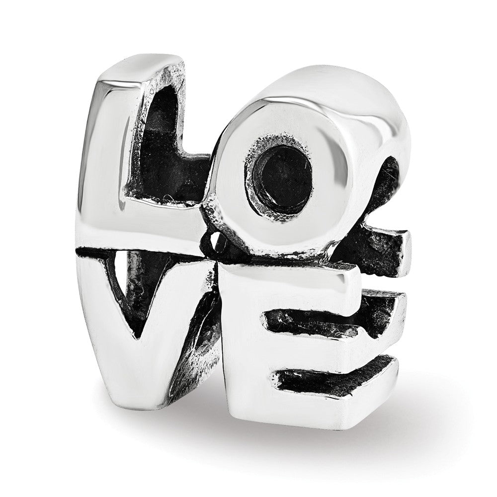 Sterling Silver LOVE Script Bead Charm, Item B12120 by The Black Bow Jewelry Co.