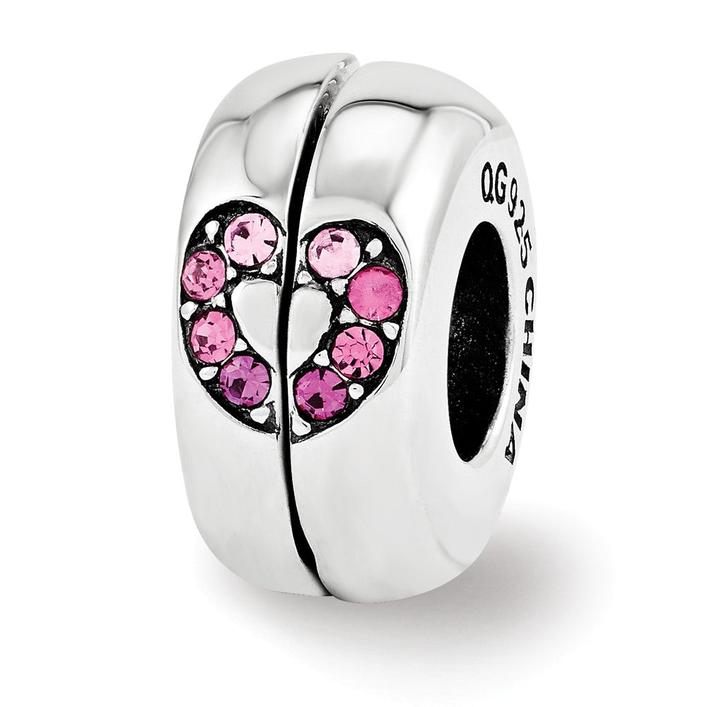 Pink Heart 2 Pc Magnetic Sterling Silver Charm with Swarovski Crystals, Item B12122 by The Black Bow Jewelry Co.
