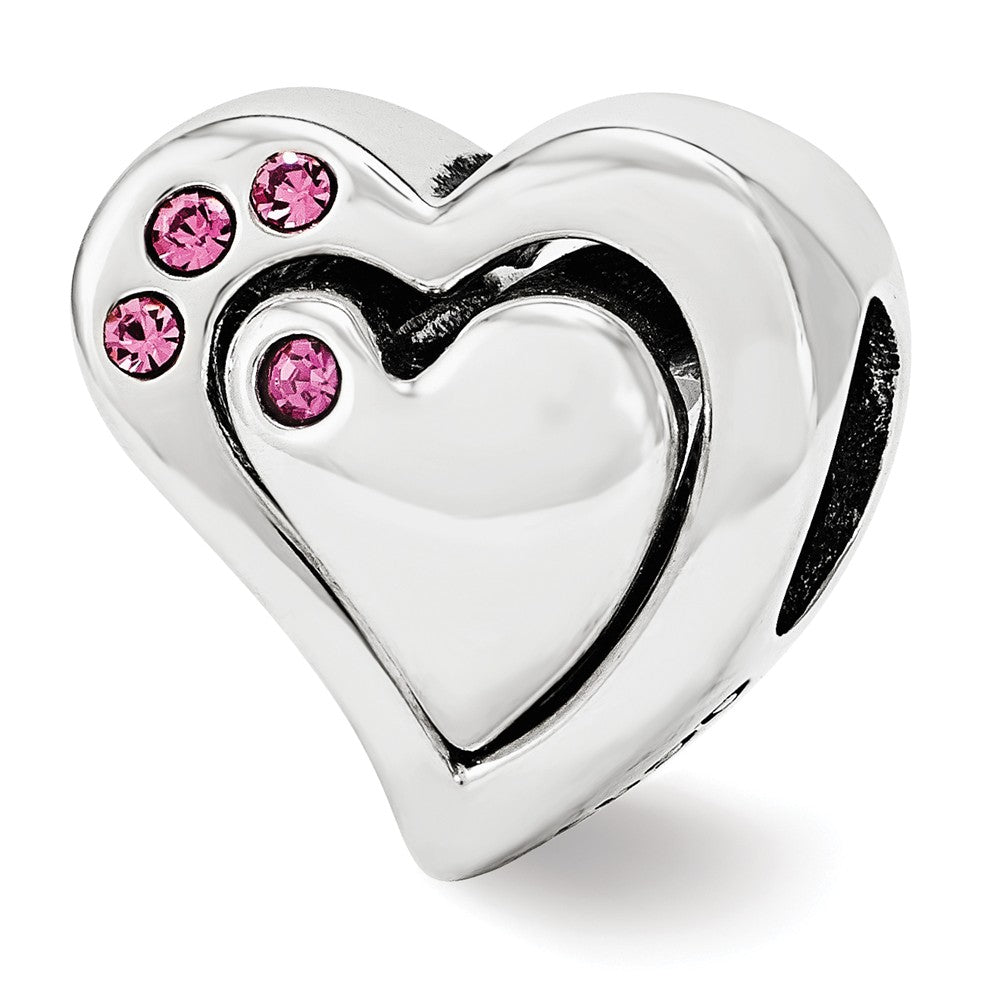 Sterling Silver 2 Piece Heart Bead Charm with Pink Swarovski Crystals, Item B12124 by The Black Bow Jewelry Co.