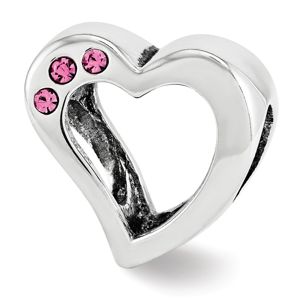 Alternate view of the Sterling Silver 2 Piece Heart Bead Charm with Pink Swarovski Crystals by The Black Bow Jewelry Co.