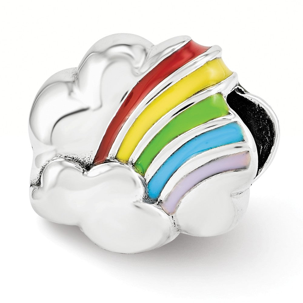 Sterling Silver Enameled Rainbow Cloud Bead Charm, Item B12126 by The Black Bow Jewelry Co.