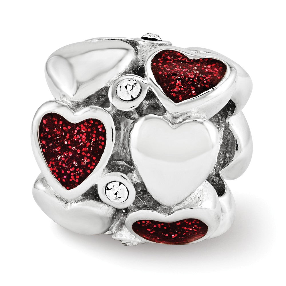 Sterling Silver, Red Glitter Enamel & Crystal Double Row Heart Bead, Item B12127 by The Black Bow Jewelry Co.