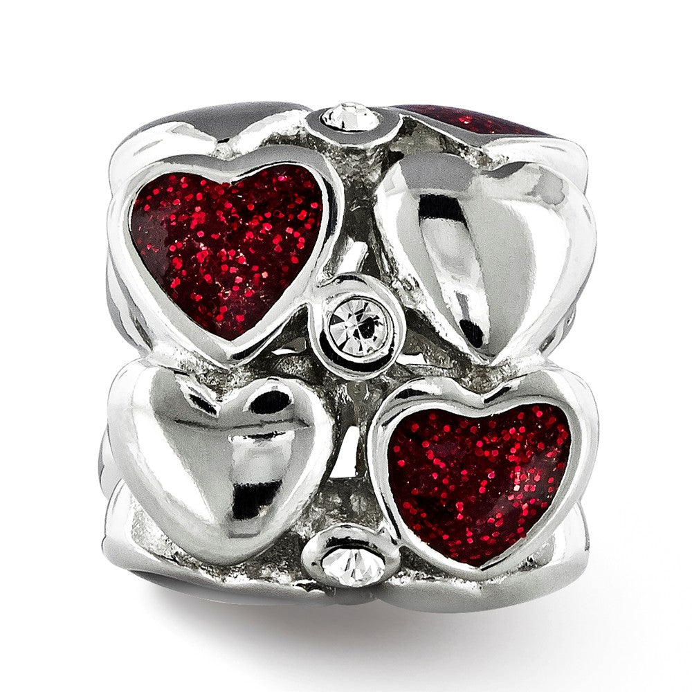 Alternate view of the Sterling Silver, Red Glitter Enamel & Crystal Double Row Heart Bead by The Black Bow Jewelry Co.
