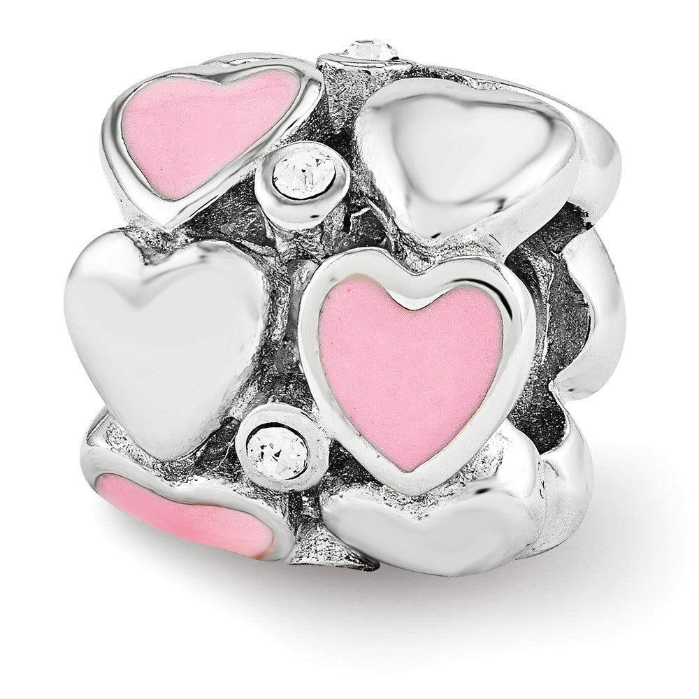 Sterling Silver, Pink Enamel & Crystal Double Row Heart Bead Charm, Item B12128 by The Black Bow Jewelry Co.