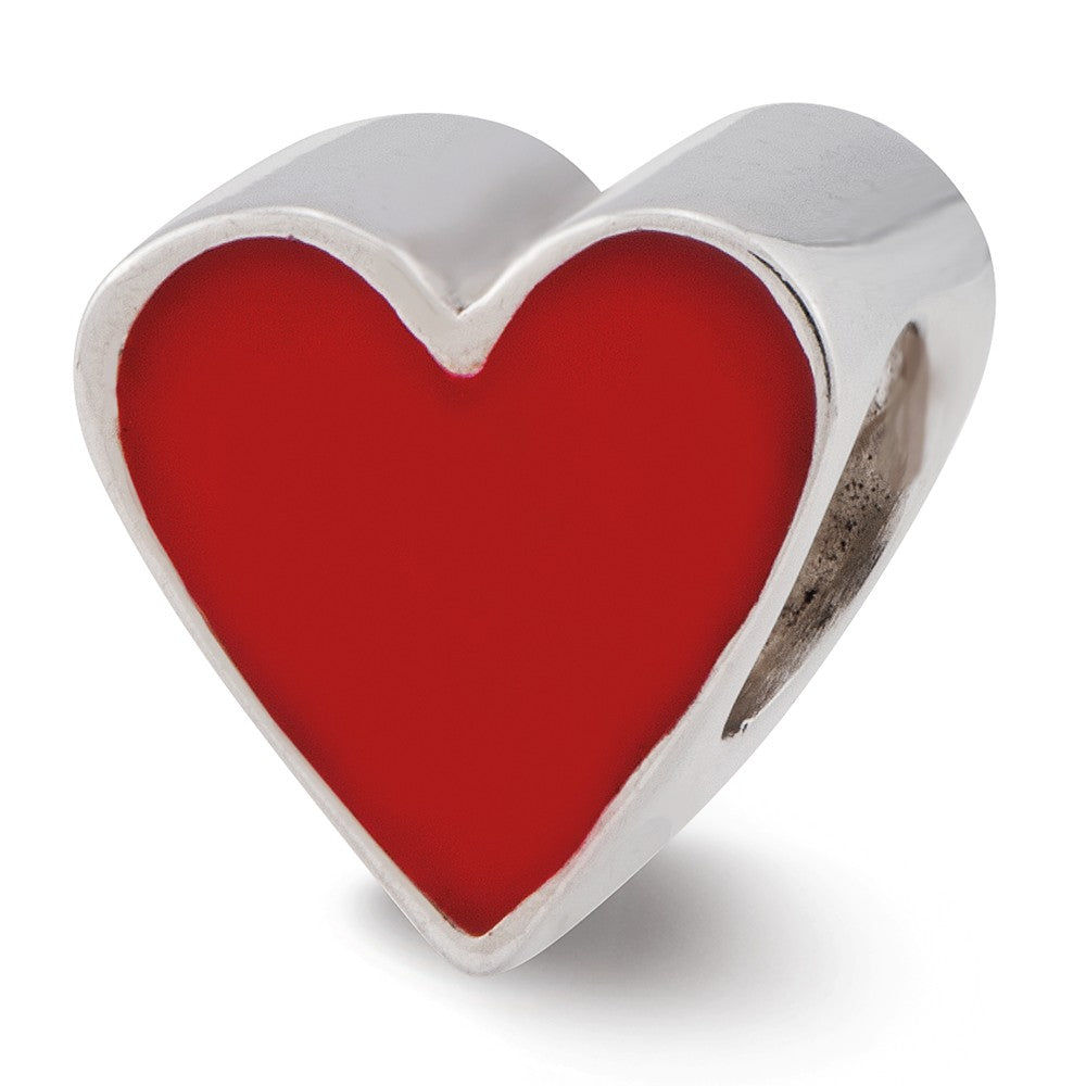 Sterling Silver & Red Enameled Heart Bead Charm, 9mm, Item B12154 by The Black Bow Jewelry Co.