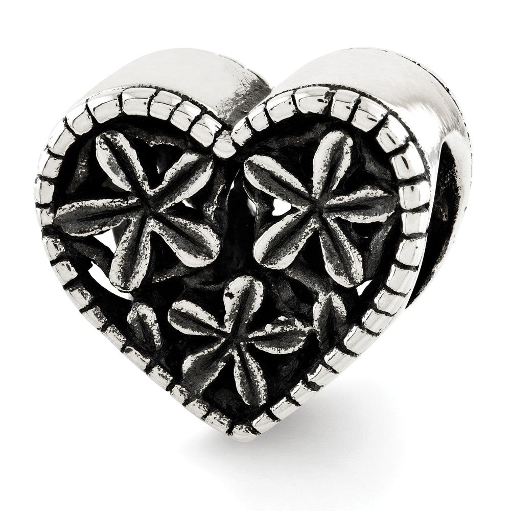 Coin Edge Flower Heart Bead Charm in Antiqued Sterling Silver, Item B12159 by The Black Bow Jewelry Co.