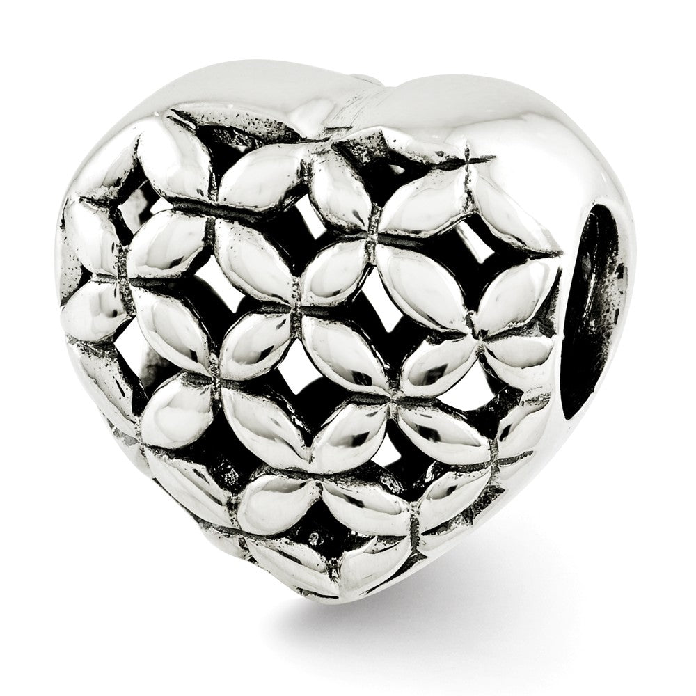 Sterling Silver Floral Lattice Heart Bead Charm, Item B12160 by The Black Bow Jewelry Co.