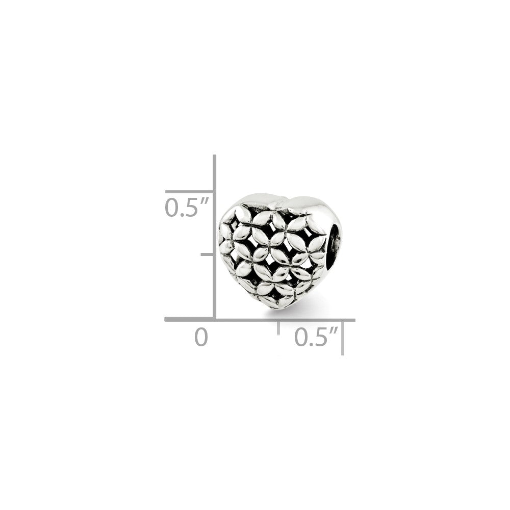 Alternate view of the Sterling Silver Floral Lattice Heart Bead Charm by The Black Bow Jewelry Co.
