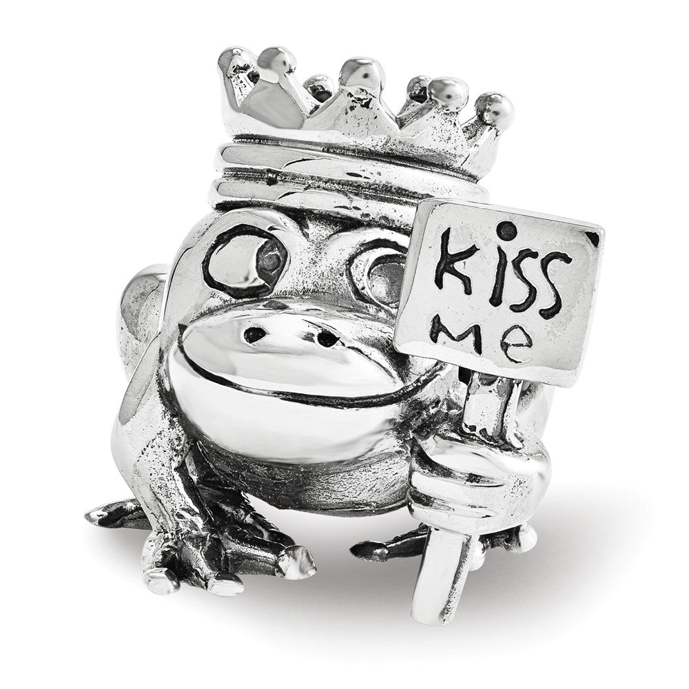 Kiss Me Frog Prince Charm in Antiqued Sterling Silver, Item B12163 by The Black Bow Jewelry Co.