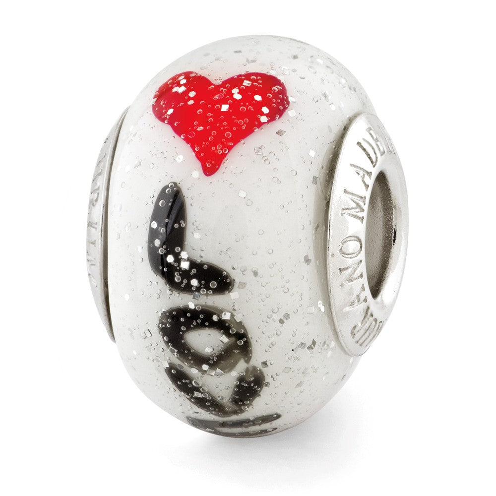 Alternate view of the Sterling Silver & Italian Murano Glass Love Script with Hearts Charm by The Black Bow Jewelry Co.