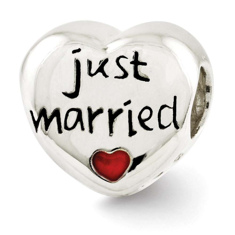Sterling Silver and Enameled Just Married Heart Bead Charm, Item B12171 by The Black Bow Jewelry Co.