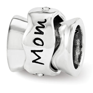 Sterling Silver and Crystal Mom I Love You Spinner Bead Charm - The Black Bow Jewelry Co.