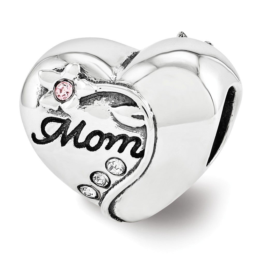 Sterling Silver Vining Flower Mom Heart Charm with Swarovski Crystals, Item B12182 by The Black Bow Jewelry Co.