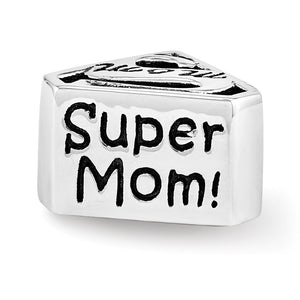 Alternate view of the Sterling Silver Super Mom Shield Bead Charm by The Black Bow Jewelry Co.
