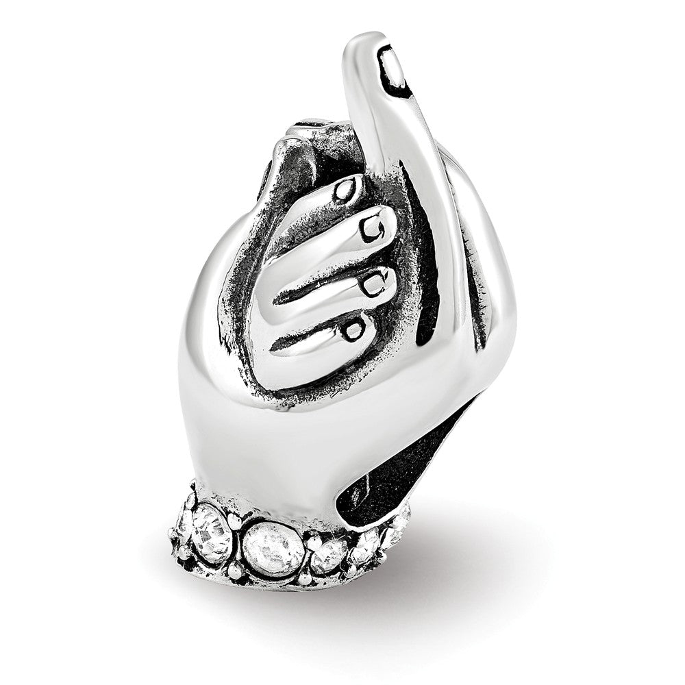 Sterling Silver with Swarovski Crystals Mother & Child Hands Bead, Item B12189 by The Black Bow Jewelry Co.