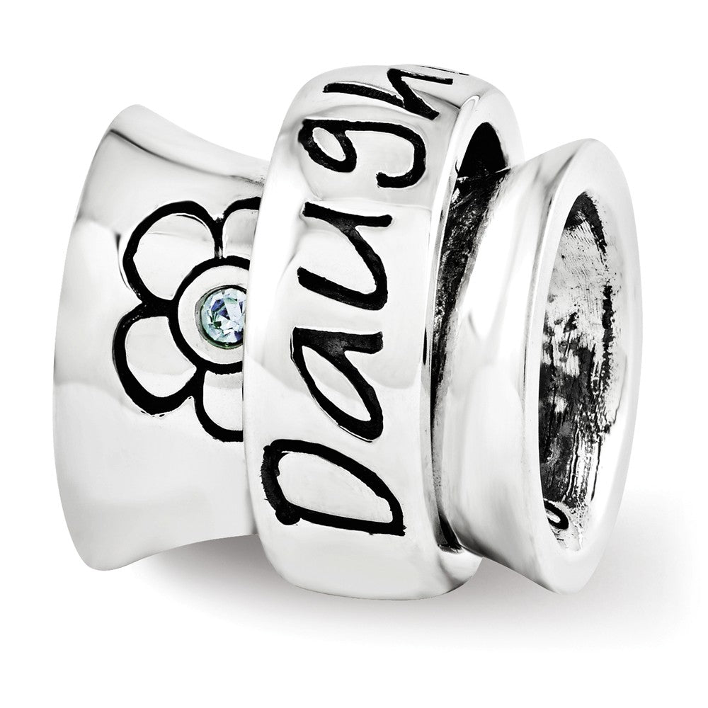 Sterling Silver with Swarovski Crystals Daughter Spinner Bead Charm, Item B12192 by The Black Bow Jewelry Co.