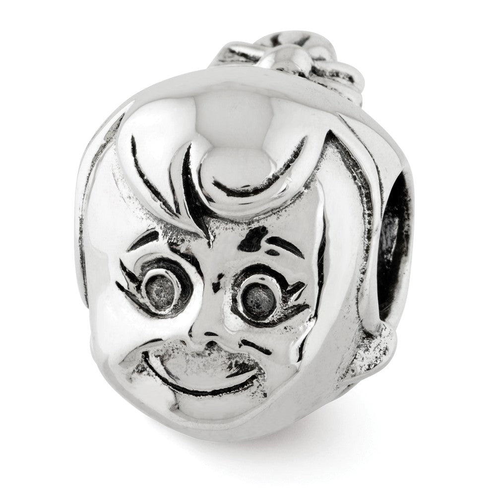 Sterling Silver Little Girl's Head with Ponytail Bead Charm, Item B12193 by The Black Bow Jewelry Co.