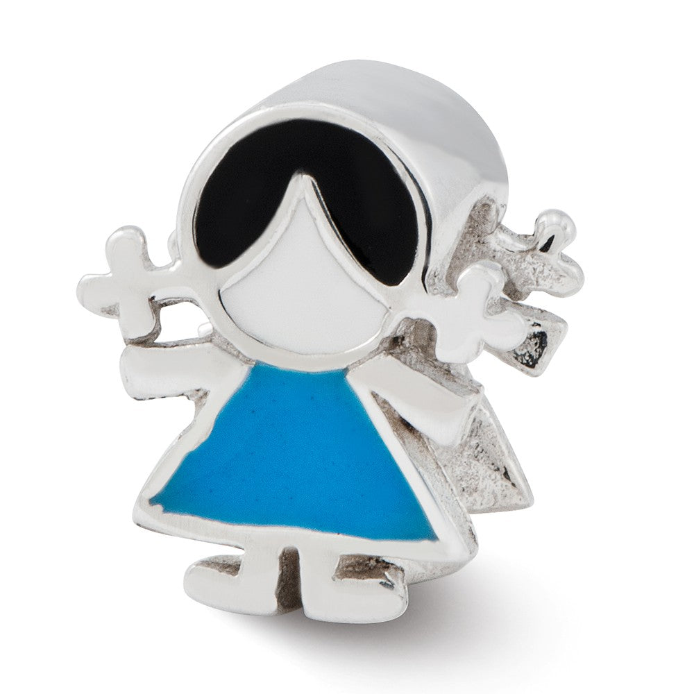 Sterling Silver & Enameled Blue Dress Girl Bead Charm, Item B12197 by The Black Bow Jewelry Co.