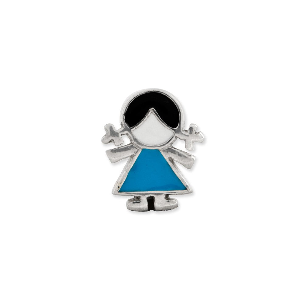 Alternate view of the Sterling Silver & Enameled Blue Dress Girl Bead Charm by The Black Bow Jewelry Co.