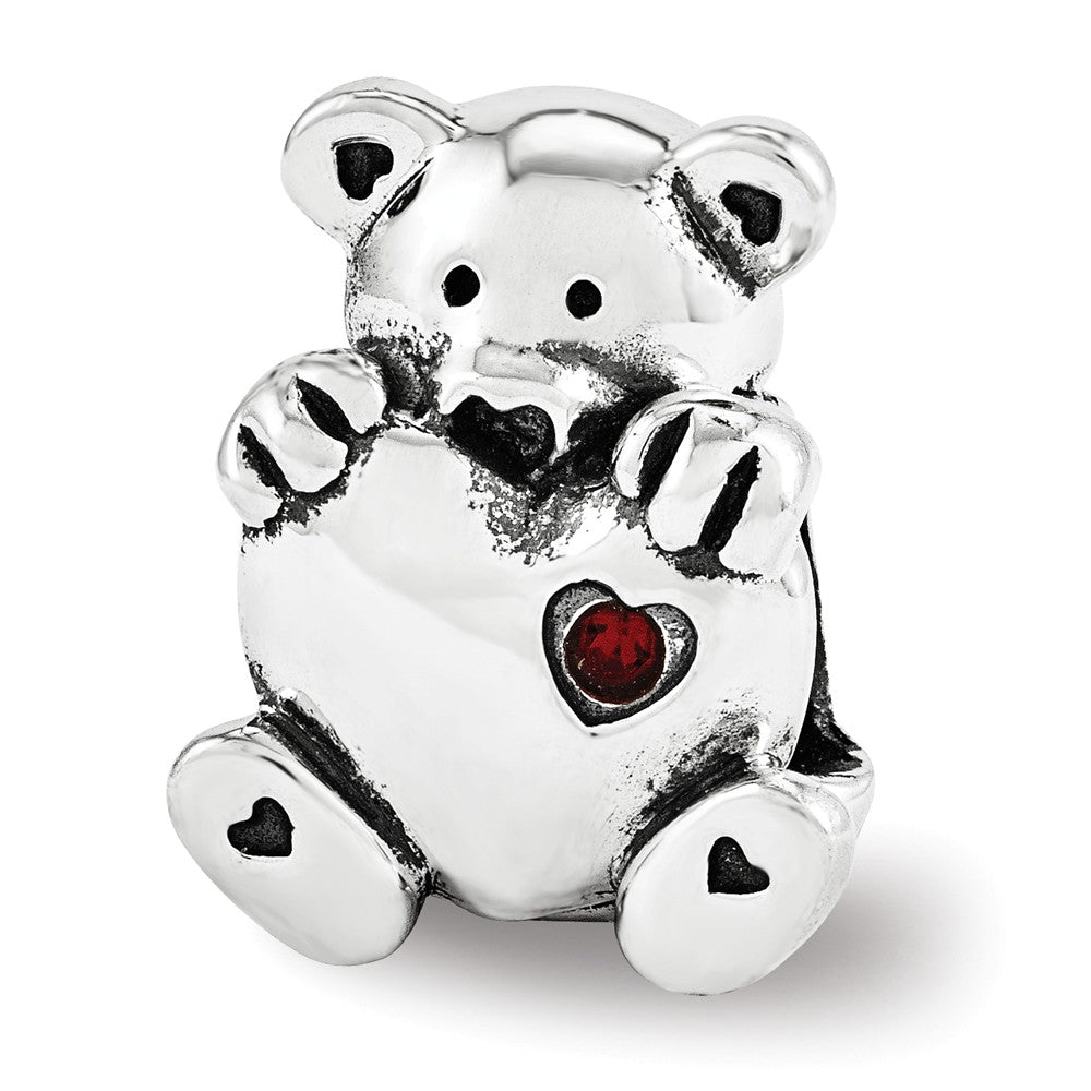 Sterling Silver & Red Crystal Teddy Bear with Heart Bead Charm, Item B12199 by The Black Bow Jewelry Co.