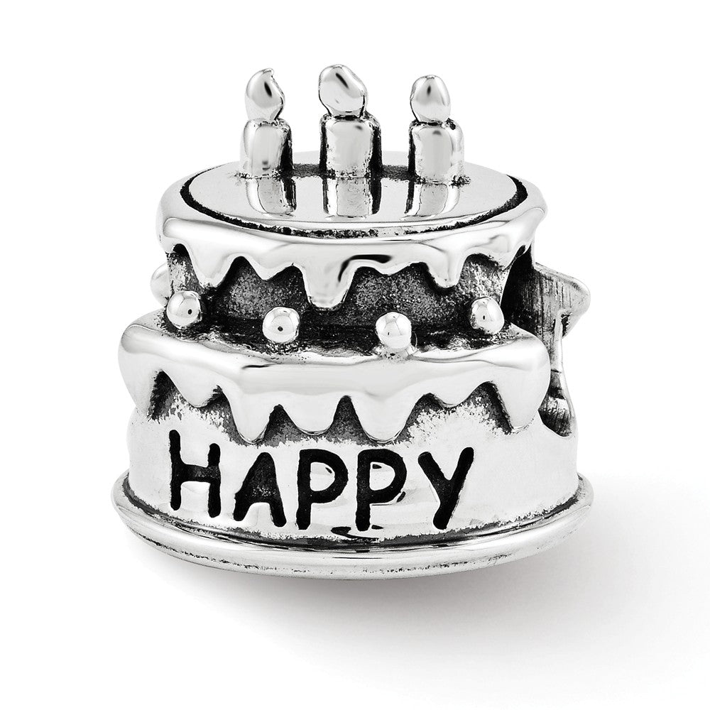Happy Birthday Cake Charm in Antiqued Sterling Silver, Item B12214 by The Black Bow Jewelry Co.